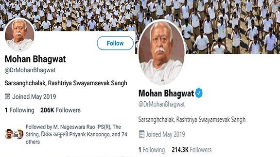 Twitter: राष्ट्रीय स्वयंसेवक संघ के प्रमुख मोहन भागवत के ट्विटर अकाउंट पर ब्लू टिक वापस लगा
