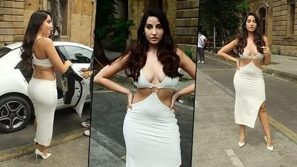 Nora Fatehi looks: सफेद सिजलिंग ड्रेस में मुंबई की सड़कों पर नजर आईं नोरा फतेही, देखें तस्वीरें